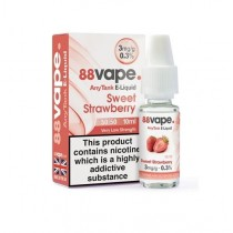 88 Vape Any Tank E Liquid - Sweet Strawberry - 50/50 Pg/Vg - 3Mg - 10Ml