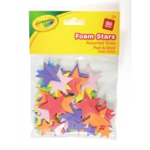 Crayola Peel & Stick Foam Stars - Assorted Colours & Sizes - For Ages 3+ - Pack of 80
