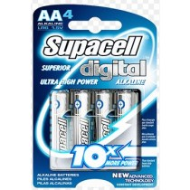 SUPACELL DIGITAL AA LR6 1.5V ALKALINE BATTERY - PACK OF 4