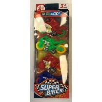 Red Deer Toys Pull Back & Go Super Bikes - Assorted Colours - Pack of 4 - 25.5 x 9 x 3cm