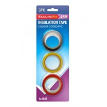 SecureFix Colour Coded PVC Insulation Tape - 15m - Pack of 3