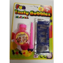 Fun Tasty Bubbles With Blowing Stick - Pink And Blue - Colours May Vary - Packaging May Be Slightly Defected