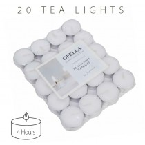 Opella Non-Fragranced Tea Lights / Candles - White - Pack Of 20