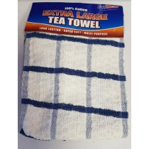 100% Cotton Extra Large Check Tea Towel - Colours May Vary