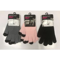 Touchscreen Ladies Gloves - Assorted Colours - One Size