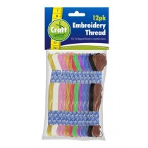 Craft Central Embroidery Thread - 12 x 7m - Assorted Colours - Pack of 12