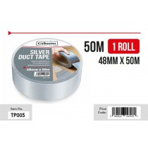 Gibsons High Strength Adhesive Silver Duct Tape for Domestic & Commercial Use - 48mm x 50m