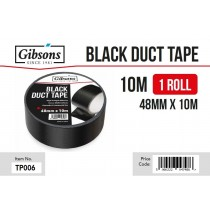 Gibsons High Strength Adhesive Black Duct Tape for Domestic & Commercial Use - 48mm x 10m