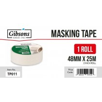 Gibsons High Strength Adhesive Masking Tape for Domestic & Commercial Use - 48mm x 25m