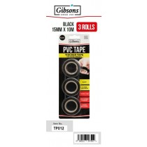 Gibsons Super Strength Self Fusing Adhesive Black PVC Tape - 0.12mm - 15mm x 10m - Pack of 3