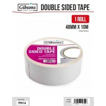 Gibsons High Strength Adhesive Double Sided Tape for Domestic & Commercial Use - 48mm x 10m