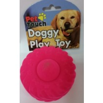 Flocked Squeaky Tyre Dog Toy - Assorted Colours