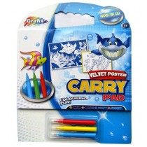 GRAFIX COLOURING VELVET POSTER CARRY PAD WITH 3 FELT TIP PENS