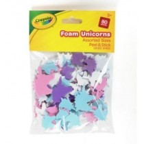 Crayola Peel & Stick Foam Unicorns - Assorted Colours & Sizes - For Ages 3+ - Pack of 80