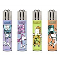 Clipper Classic Large Reusable Lighters - Unicorn Signs - Assorted Colours & Designs