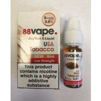 88 Vape Any Tank E Liquid - USA Tobacco - 50/50 Pg/Vg - 6Mg - 10Ml