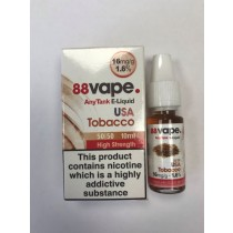 88 Vape Any Tank E Liquid - USA Tobacco - 50/50 Pg/Vg - 16Mg - 10Ml
