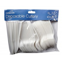 Disposable Plastic Cutlery - 72 Piece