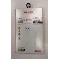 Ven-Dens Micro Data Charging & Sync Cable - White - 5V - 2A - 100cm