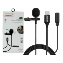 Ven-Dens 360° 2-in-1 USB-C to 3.5mm Lavalier Microphone with All-Directional High Fidelity Wheat Head - 1.5m