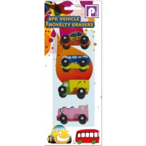 VEHICLE NOVELTY ERASER RUBBERS - ASSORTED COLOURS AND DESIGNS - PACK OF 4