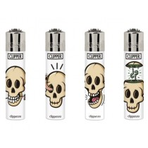 Clipper Classic Large Reusable Lighters - White Skulls - Assorted Colours & Designs