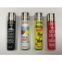 Clipper Classic Large Reusable Lighters - Wine Quotes - Assorted Colours & Designs
