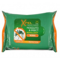 XPEL TROPICAL FORMULA MOSQUITO AND INSECT REPELLENT WIPES - PACK OF 25