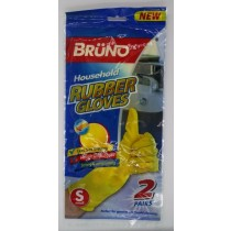 Bruno Quick Drying Household Rubber Gloves - Yellow - Pack of 2 Pairs - Small