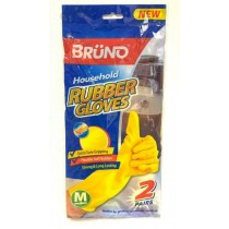 Bruno Quick Drying Household Rubber Gloves - Yellow - Pack of 2 Pairs - Medium