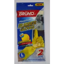 Bruno Quick Drying Household Rubber Gloves - Yellow - Pack of 2 Pairs - Large