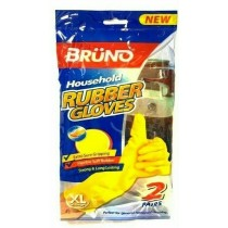 Bruno Quick Drying Household Rubber Gloves - Yellow - Pack of 2 Pairs - Extra Large
