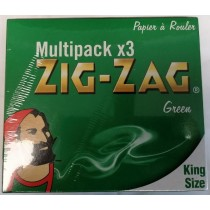 Zig Zag Finest Quality Rolling Papers - King Size - Green - Multipack X 3 - Pack of 12
