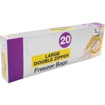 Large Double Zipper Freezer Bags - 25 x 25cm - Pack Of 20